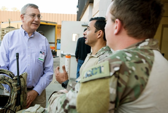 Mark R. Rudo, an AMC civic leader representing Dover Air Force Base, Del., learns about the special tactics mission and how AMC supports the special tactics mission at the 21st Special Tactics Squadron on Pope Army Airfield, N.C. Nov. 16, 2016. The visit was part of the AMC civic leader tour of the AMC mission at Pope AAF.  The tour provided insight into AMC's prominent role enabling joint mission effects globally. (U.S. Air Force photo by Marc Barnes)