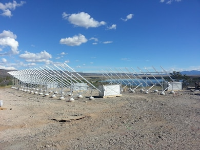 COCHITI LAKE, N.M. – The framework for the photovoltaic electric generation system at the project, Sept. 30, 2016. Photo by Erin Larivee. This was a 2016 Photo Drive entry.