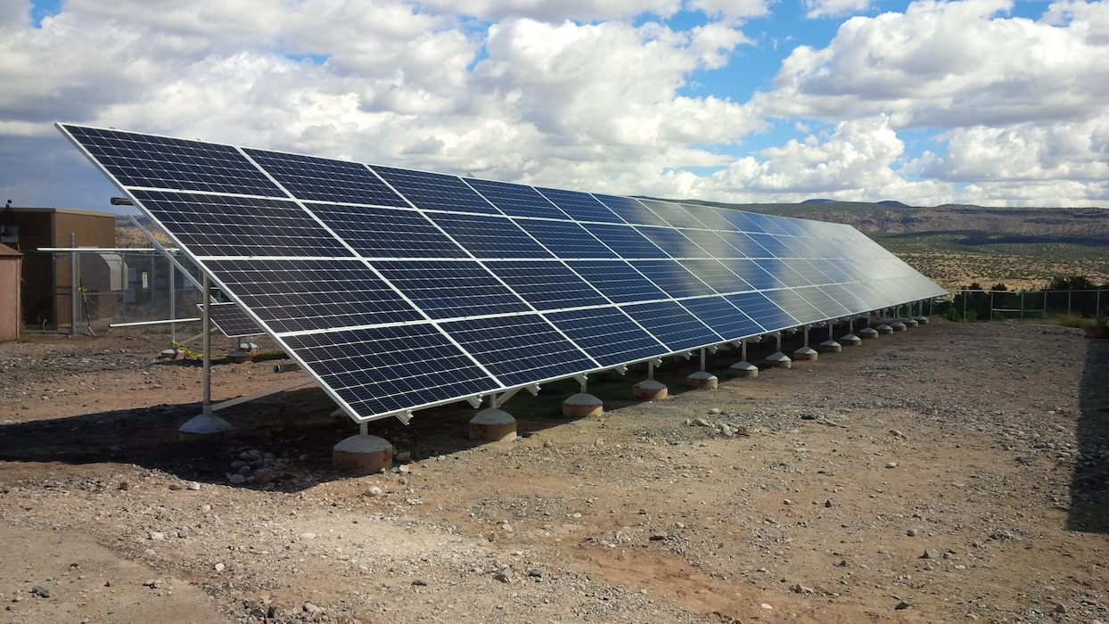 COCHITI LAKE, N.M. – One of the photovoltaic arrays in the electric generation system at the project, Oct. 3, 2016. Photo by Erin Larivee. This was a 2016 Photo Drive entry.