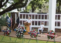 "161111-N-KV911-131 JOINT BASE PEARL HARBOR-HICKAM, Hawaii (Nov. 11, 2016) – Rear Adm. Frederick ""Fritz"" Roegge, commander, Submarine Force U.S. Pacific Fleet, speaks during a Veterans Day ceremony held at the USS Parche Submarine Park and Memorial at Joint Base Pearl Harbor-Hickam. Roegge served as the guest speaker for the ceremony, which was hosted by the U.S. Submarine Veterans Inc. Bowfin Base. (U.S. Navy photo by Petty Officer 2nd Class Shaun M. Griffin)"