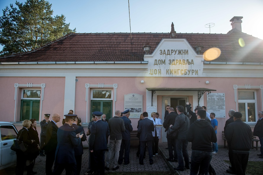 Americans, Brits and Serbians visit a hospital in Pranjani, Serbia, Nov. 17, 2016, that was used to treat wounded Airmen during Operation Halyard. The U.S. State Department, U.S. Air Force, Royal Air Force and Serbian Armed Forces were in attendance to commemorate the event and the heroic actions of the Serbian people. Operation Halyard was the rescue mission to save more than 500 Allied Airmen who were shot down over Serbia during WWII. The local Serbians housed and fed the downed Airmen, while also keeping their presence a secret from the German forces searching for them. The operation was, and still is, the largest rescue of downed Americans. (U.S. Air Force photo by Tech. Sgt. Ryan Crane)