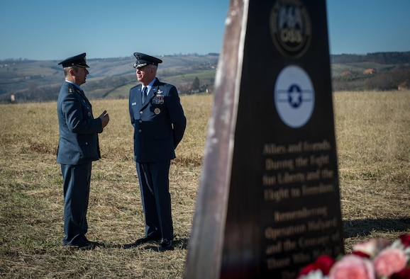 Brig. Gen. Randy Huston, 3rd Air Force mobilization assistant, speaks to his Serbian Armed Forces counterpart at the Operation Halyard memorial in Pranjani, Serbia, Nov. 17, 2016.  The U.S. State Department, U.S. Air Force, Royal Air Force and Serbian Armed Forces were in attendance to commemorate the event and the heroic actions of the Serbian people. Operation Halyard was the rescue mission to save more than 500 Allied Airmen who were shot down over Serbia during WWII. The local Serbians housed and fed the downed Airmen, while also keeping their presence a secret from the German forces searching for them. The operation was, and still is, the largest rescue of downed Americans. (U.S. Air Force photo by Tech. Sgt. Ryan Crane)