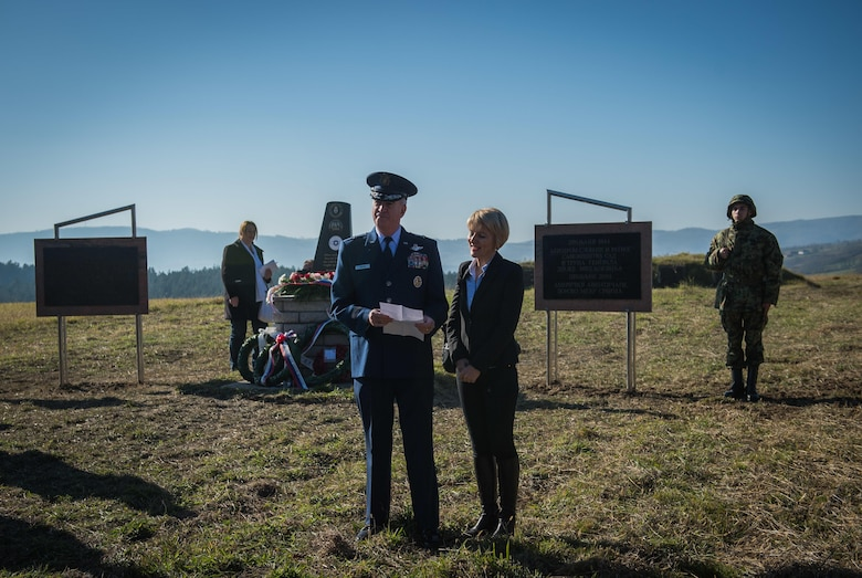 Brig. Gen. Randy Huston, 3rd Air Force mobilization assistant, speaks to an audience of Serbians at the Operation Halyard memorial in Pranjani, Serbia, Nov. 17, 2016.  The U.S. State Department, U.S. Air Force, Royal Air Force and Serbian Armed Forces were in attendance to commemorate the event and the heroic actions of the Serbian people. Operation Halyard was the rescue mission to save more than 500 Allied Airmen who were shot down over Serbia during WWII. The local Serbians housed and fed the downed Airmen, while also keeping their presence a secret from the German forces searching for them. The operation was, and still is, the largest rescue of downed Americans. (U.S. Air Force photo by Tech. Sgt. Ryan Crane)