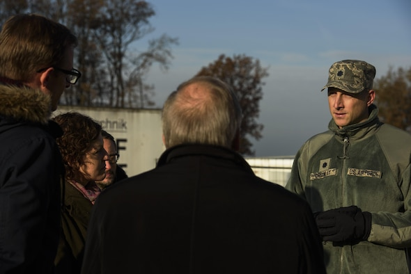 Sabine Metzen, 52nd Civil Engineer Squadron project manager, shows 52nd Fighter Wing leadership and school leadership around the new modular buildings being built on Spangdahlem Air Base, Germany, Nov. 14, 2016. The design and execution of the elementary school expansion project was a collaborative effort between Depart of Defense Education Activity, school leadership and 52nd CES. (U.S. Air Force photo by Staff Sgt. Jonathan Snyder)