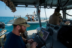 Sailors assigned to Commander, Task Force 56.1 (CTF 56.1), prepare to launch an unmanned underwater vehicle (UUV) in the Arabian Gulf Oct 27, 2016 during a bilateral mine countermeasures (MCM) exercise between the U.S. Navy and Royal Navy. The U.S.-U.K. MCM exercise was designed to provide an opportunity for both nations to share knowledge of MCM techniques to respond to mine threats. The combined MCM force enhances MCM capabilities in searching, identifying and neutralizing mines threatening the freedom of navigation and free flow of commerce.