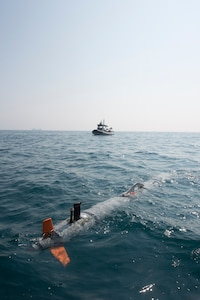 An unmanned underwater vehicle (UUV), from Commander, Task Force 56.1 (CTF 56.1), surfaces to be recovered in the Arabian Gulf Oct 27, 2016 during a bilateral mine countermeasures (MCM) exercise between the U.S. Navy and Royal Navy. The U.S.-U.K. MCM exercise was designed to provide an opportunity for both nations to share knowledge of MCM techniques to respond to mine threats. The combined MCM force enhances MCM capabilities in searching, identifying and neutralizing mines threatening the freedom of navigation and free flow of commerce.
