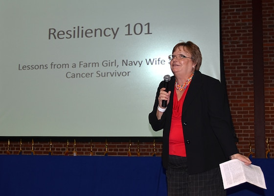 Julia Roquemore, a division chief in Defense Logistics Agency Aviation's Strategic Acquisition Programs Directorate, shares her personal resiliency story with audience members during the activity's Resiliency Day celebration Nov. 15, 2016, in the Lotts Conference Center on Defense Supply Center Richmond, Virginia.