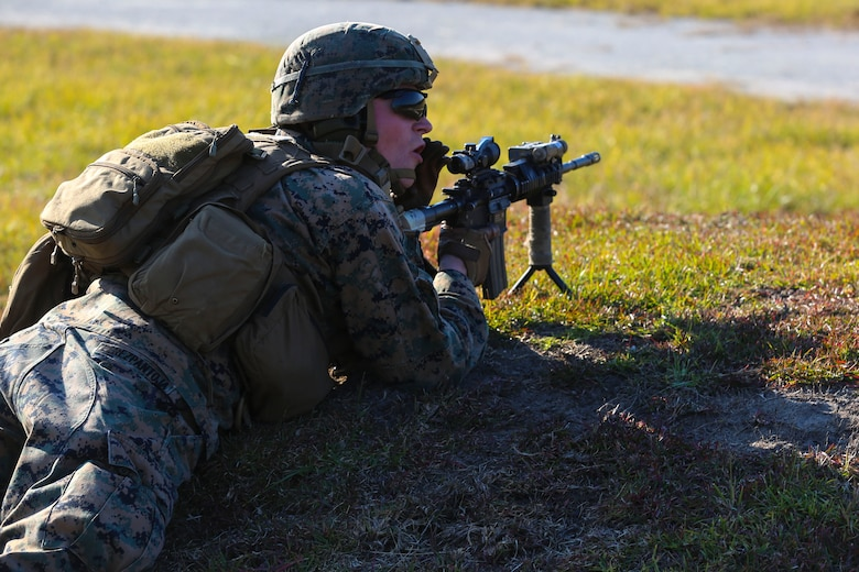 Lance Cpl. Derek Perez-Pantoja directs his team during a training exercise at Camp Lejeune, N.C., Nov 16, 2016. The Marines practiced squad-sized movements in order to maintain unit readiness for their upcoming Integrated Training Exercise at the Marine Corps Air Ground Combat Training Center in Twentynine Palms, California. Perez-Pantoja is a rifleman with 1st Battalion, 8th Marine Regiment.  (U.S. Marine Corps Photo by Lance Cpl. Jon Sosner)