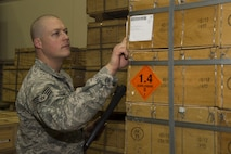 Staff Sgt. Bryan Thompson, 90th Munition Squadron munitions operations NCO in charge, inventories ammunition at F.E. Warren Air Force Base, Wyo., Oct. 31, 2016. Thompson is in charge of acquiring and inventorying every munition asset delivered to the base. The 90th MUNS mission is to enable nuclear deterrence by maintaining combat ready munitions in defense of global freedoms safely, securely and effectively. (U.S. Air Force photo by Staff Sgt. Christopher Ruano)