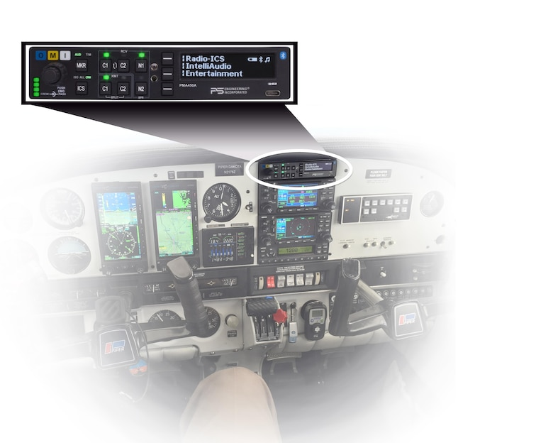 An installed PS Engineering PMA450A audio panel is shown. (Photo Illustration courtesy of  PS Engineering)