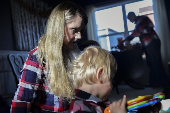 Mandy Wren-a Douglas plays with her son, Dean Fredric Douglas, Nov. 2, 2016, at their family home in Colorado Springs, Colo. While her husband works at Peterson Air Force Base, Colo., Mandy stays at home with their three-year-old twin boys to take them to doctors appointments, take care of their typical daily routines and maintain the house. Dean and Luke were both born premature at 23 weeks, 17 weeks earlier than normal. (U.S. Air Force photo by Airman 1st Class Gabrielle Spradling/Released)