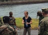 1st Lt. Ariel Saltin communicates lessons provided by U.S. Marine Corps instructors on piracy deterrence tactics to Cameroonian marines. Saltin traveled to Cameroon with LEAP in order to provide joint training support. (Courtesy photo)