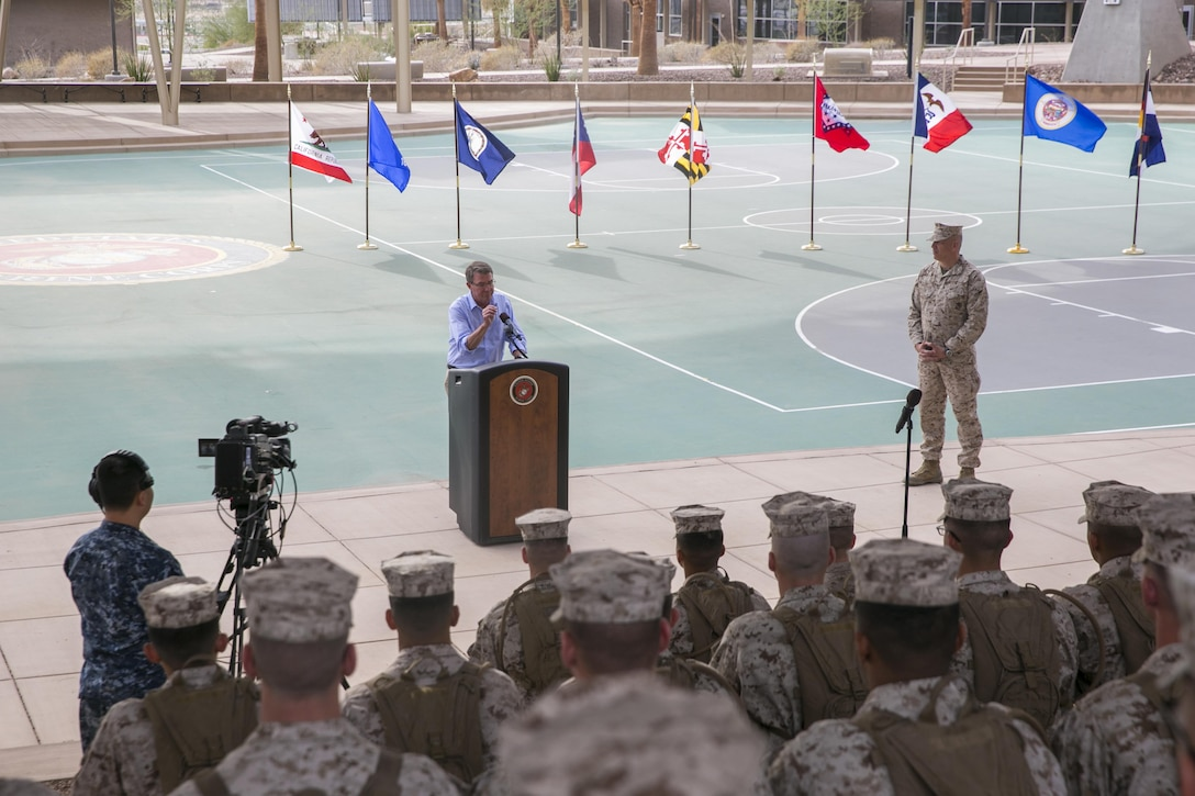 Defense Secretary Ash Carter addresses Marines and sailors at the Dunham Amphitheatre aboard Marine Corps Air Ground Combat Center, Twentynine Palms, Calif., Nov. 15, 2016. Carter visited the installation to observe a combined arms live-fire exercise (CALFEX), meet with Combat Center leadership, and address Marines and sailors stationed aboard the installation.   (Official Marine Corps photo by Lance Cpl. Dave Flores/Released)