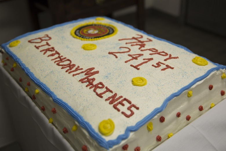 A cake commemorating the 241st Marine Corps birthday sits on display during preparation for the Marine Corps birthday meal at Phelps Mess Hall, Nov. 10, 2016. The Marine Corps' birthday is one of the many traditions that Marines take great pride in celebrating annually. (Official Marine Corps photo be Cpl. Medina Ayala-Lo/Released)
