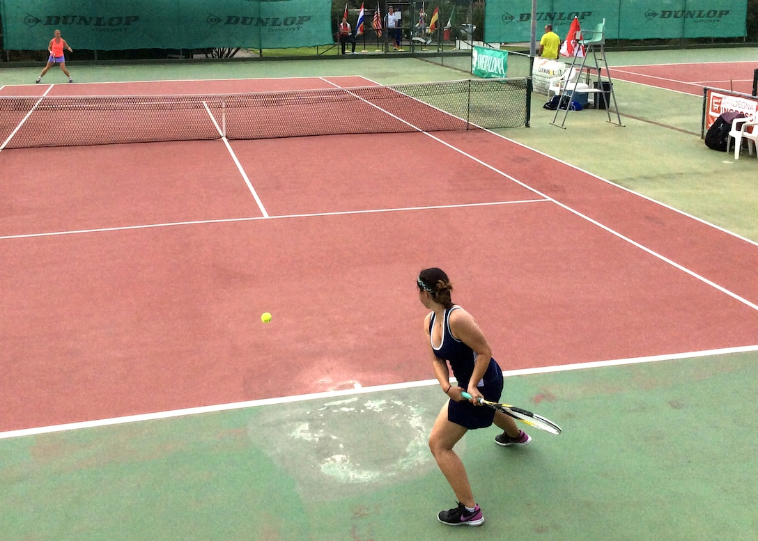 Lt Christine Martinez helps Air Force team take Inter-Nation Tennis Championship.