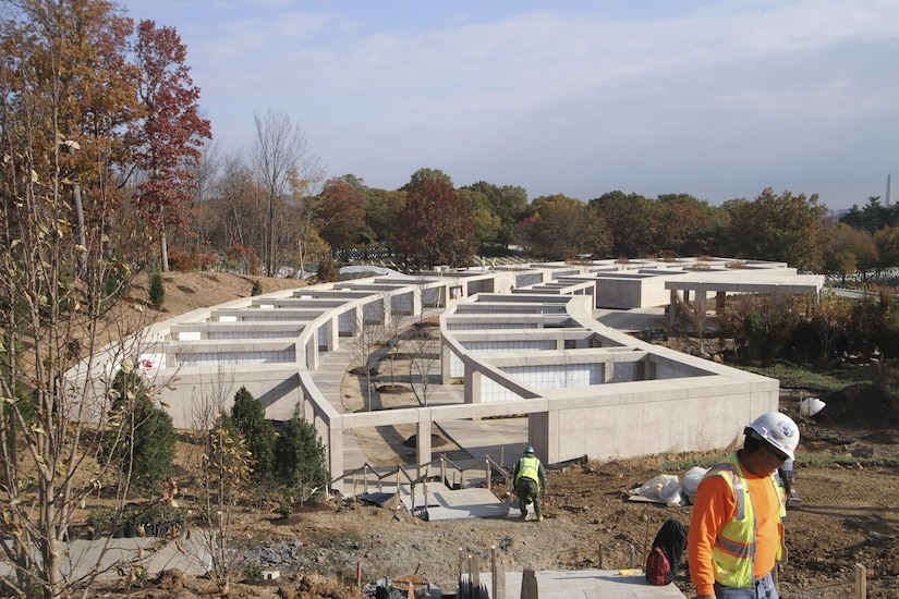 ARLINGTON, Va. -- Contractors are nearing completion on building a new columbarium, which is a part of Arlington National Cemetery's Millennium Project; a 27-acre expansion project, which adds nearly 30,000 burial and niche spaces to the cemetery here November 16, 2016. The $64 million project is scheduled to be complete and turned over to the cemetery this winter. (U.S. Army photo/Patrick Bloodgood)