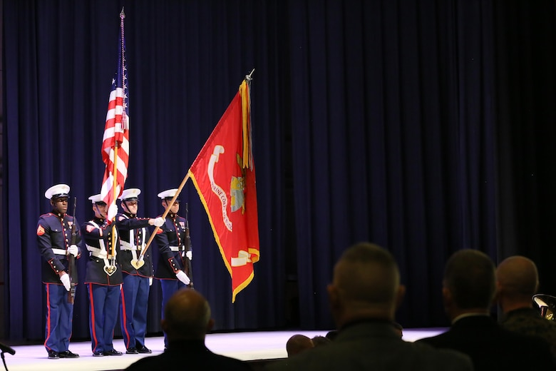 A Marine color guard presents the colors at the annual Historic Uniform Pageant aboard Marine Corps Air Station Cherry Point, N.C., Nov. 4, 2016. The pageant is held to honor the Marine Corps' birthday, and features Marines wearing uniforms from all major conflicts the Marine Corps has fought in. The pageant also included a traditional cake-cutting ceremony in celebration of the Marine Corps' 241st Birthday. (U.S. Marine Corps photo by Lance Cpl. Mackenzie Gibson/Released)