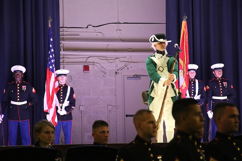 Pfc. Jorge Eufracio represents a Marine in the Revolutionary War during the annual Historic Uniform Pageant aboard Marine Corps Air Station Cherry Point, N.C., Nov. 4, 2016. The pageant is held to honor the Marine Corps' birthday and features Marines wearing uniforms from all major conflicts the Marine Corps has fought in. The pageant depicts the Corps' long illustrious history throughout decades of warfighting. The pageant also included a traditional cake-cutting ceremony representing the passing of traditions from the eldest Marine to the youngest. (U.S. Marine Corps photo by Lance Cpl. Mackenzie Gibson/Released)