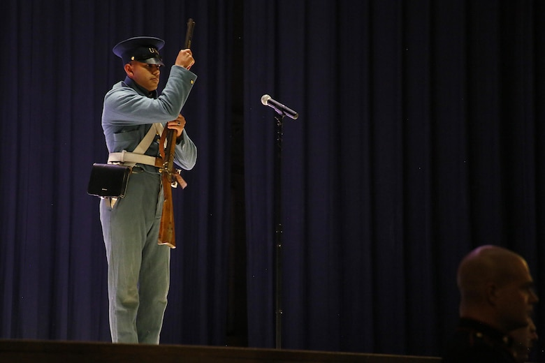 Pfc. Antonio Martinez represents a Marine in the Mexican-American War during the annual Historic Uniform Pageant aboard Marine Corps Air Station Cherry Point, N.C., Nov. 4, 2016. The pageant is held to honor the Marine Corps' birthday and features Marines wearing uniforms from all major conflicts the Marine Corps has fought in. The pageant depicts the Corps' long illustrious history throughout decades of warfighting. The pageant also included a traditional cake-cutting ceremony representing the passing of traditions from the eldest Marine to the youngest. (U.S. Marine Corps photo by Lance Cpl. Mackenzie Gibson/Released)
