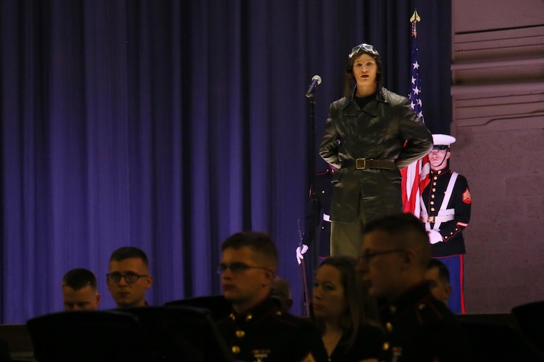 Lance Cpl. Sean Weaver represents 2nd Lt. Alfred A. Cunningham, the first Marine Corps aviator, during the annual Historic Uniform Pageant aboard Marine Corps Air Station Cherry Point, N.C., Nov. 4, 2016. The pageant is held to honor the Marine Corps' birthday and features Marines wearing uniforms from all major conflicts the Marine Corps has fought in. The pageant depicts the Corps' long illustrious history throughout decades of warfighting. The pageant also included a traditional cake-cutting ceremony representing the passing of traditions from the eldest Marine to the youngest. (U.S. Marine Corps photo by Lance Cpl. Mackenzie Gibson/Released)