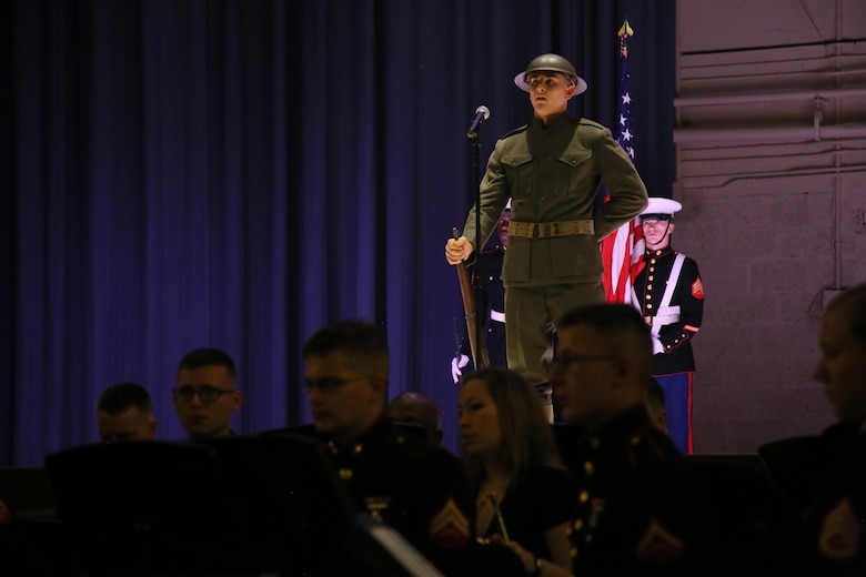 Pfc. Richard Nagel represents a Marine in World War I during the annual Historic Uniform Pageant aboard Marine Corps Air Station Cherry Point, N.C., Nov. 4, 2016. The pageant is held to honor the Marine Corps' birthday and features Marines wearing uniforms from all major conflicts the Marine Corps has fought in. The pageant depicts the Corps' long illustrious history throughout decades of warfighting. The pageant also included a traditional cake-cutting ceremony representing the passing of traditions from the eldest Marine to the youngest. (U.S. Marine Corps photo by Lance Cpl. Mackenzie Gibson/Released)