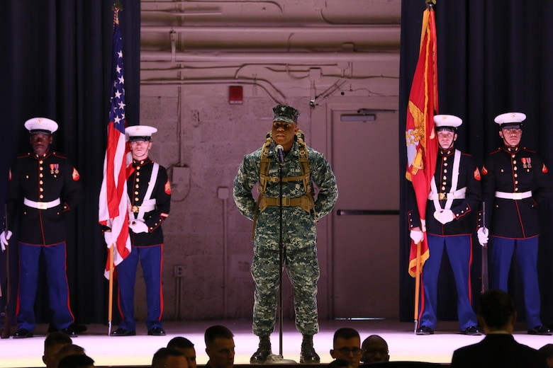 Petty Officer 3rd Class Andre Conway represents a Navy corpsman during the annual Historic Uniform Pageant aboard Marine Corps Air Station Cherry Point, N.C., Nov. 4, 2016. The pageant is held to honor the Marine Corps' birthday and features Marines wearing uniforms from all major conflicts the Marine Corps has fought in. The pageant depicts the Corps' long illustrious history throughout decades of warfighting. The pageant also included a traditional cake-cutting ceremony representing the passing of traditions from the eldest Marine to the youngest. (U.S. Marine Corps photo by Lance Cpl. Mackenzie Gibson/Released)