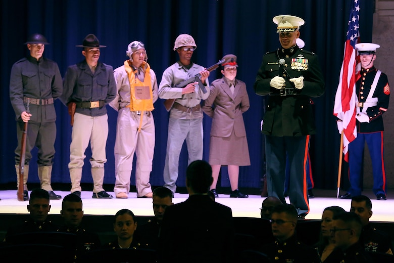Col. Todd Ferry gives a few words during the annual Historic Uniform Pageant aboard Marine Corps Air Station Cherry Point, N.C., Nov. 4, 2016. The pageant is held to honor the Marine Corps' birthday and features Marines wearing uniforms from all major conflicts the Marine Corps has fought in. The pageant depicts the Corps' long illustrious history throughout decades of warfighting. The pageant also included a traditional cake-cutting ceremony representing the passing of traditions from the eldest Marine to the youngest. Ferry is the MCAS Cherry Point commanding officer. (U.S. Marine Corps photo by Lance Cpl. Mackenzie Gibson/Released)