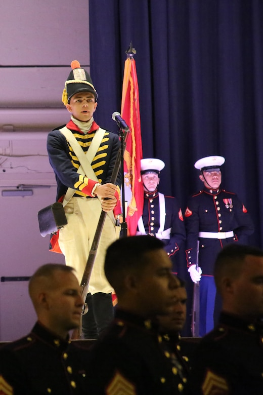 Pfc. Joshua Pollock represents a Marine in the War of 1812 during the annual Historic Uniform Pageant aboard Marine Corps Air Station Cherry Point, N.C., Nov. 4, 2016. The pageant is held to honor the Marine Corps' birthday and features Marines wearing uniforms from all major conflicts the Marine Corps has fought in. The pageant depicts the Corps' long illustrious history throughout decades of warfighting. The pageant also included a traditional cake-cutting ceremony representing the passing of traditions from the eldest Marine to the youngest. (U.S. Marine Corps photo by Lance Cpl. Mackenzie Gibson/Released)