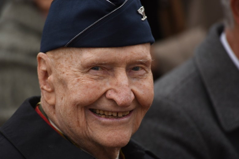 Retired U.S. Air Force Col. Gail Halvorsen, a C-52 Skymaster pilot also known as the Candy Bomber, smiles during the reopening ceremony of the Berlin Airlift Memorial outside Frankfurt International Airport, Germany, Nov. 22, 2016. Halvorsen and his fellow pilots dropped 23 tons of candy with makeshift parachutes from his C-54 as part of the Berlin Airlift, which delivered more than two million tons of food to the blockaded citizens of West Berlin between June 1948 and September 1949. (U.S. Air Force photo by Staff Sgt. Joe W. McFadden)
