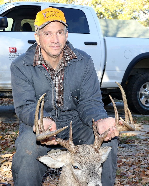 Jeffery Robertson poses with the buck he bagged during the 2016 disabled hunt at Oologah Lake. The hunt is an annual event that is sponsored by the Oklahoma Department of Wildlife Conservation.