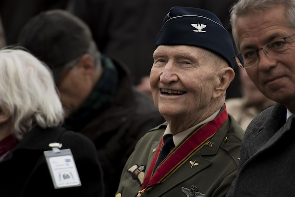 "Retired U.S. Air Force Col. Gail Halvorsen, a C-52 Skymaster pilot also known as the ""Berlin Candy Bomber,"" smiles before the reopening ceremony of the Berlin Airlift Memorial outside Frankfurt International Airport, Germany, Nov. 22, 2016. Halvorsen and his fellow pilots dropped 23 tons of candy with makeshift parachutes from his C-54 as part of the Berlin Airlift, which delivered more than 2 million tons of food to the blockaded citizens of West Berlin between June 1948 and September 1949. (U.S. Air Force photo/Staff Sgt. Joe W. McFadden)"