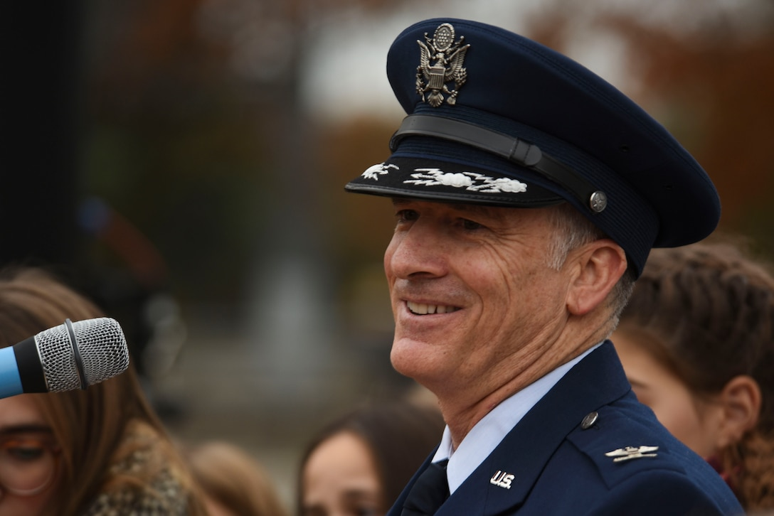 U.S. Air Force Col. Timothy Stretch, U.S. Air Forces Europe representative on behalf of the commander, speaking during the reopening ceremony of the Berlin Airlift Memorial outside Frankfurt International Airport, Germany, Nov. 22, 2016. The ceremony included retired U.S. Air Force Col. Gail Halvorsen, also known as the Candy Bomber, who dropped 23 tons of candy with makeshift parachutes from his C-54 Skymaster as part of the humanitarian supply mission. The Berlin Airlift, also known as Operation Vittles, delivered more than two million tons of food to the blockaded citizens of West Berlin between June 1948 and September 1949. (U.S. Air Force photo by Staff Sgt. Joe W. McFadden)