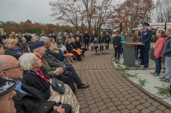 "Col. Timothy Stretch, the U.S. Air Forces in Europe and Air Forces Africa Air Force Reserve advisor to the commander, speaks during the reopening ceremony of the Berlin Airlift Memorial outside Frankfurt International Airport, Germany, Nov. 22, 2016. The ceremony included retired Col. Gail Halvorsen, also known as the ""Berlin Candy Bomber,"" who dropped 23 tons of candy with makeshift parachutes from his C-54 Skymaster as part of the humanitarian supply mission. The Berlin Airlift, also known as Operation Vittles, delivered more than 2 million tons of food to the blockaded citizens of West Berlin between June 1948 and October 1949. (U.S. Air Force photo/Staff Sgt. Joe W. McFadden)"