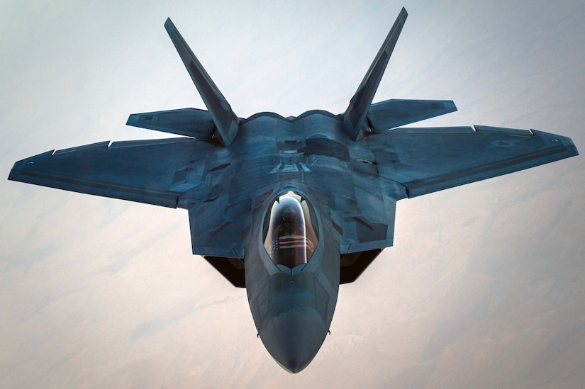 A U.S. Air Force F-22 Raptor separates from a KC-10 Extender after refueling over an undisclosed location in Southwest Asia, Oct. 26, 2016. The F-22s are providing strategic close air support with several other Coalition airframes working to liberate the city of Mosul, Iraq and have also performed approximately half (51%) of all escort missions in Operation Inherent Resolve. (U.S. Air Force photo by Senior Airman Tyler Woodward)