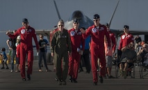 Brig. Gen. Jeannie Levitt, 57th Wing commander, walks with the U.S. Air Force Thunderbirds Air Demonstration Squadron pilots prior to flying with them during the Aviation Nation air show on Nellis Air Force Base, Nev., Nov. 11, 2016. Levitt became the first female USAF fighter pilot in 1993 and was the first woman to command a USAF combat fighter wing. (U.S. Air Force photo by Airman 1st Class Kevin Tanenbaum/Released)
