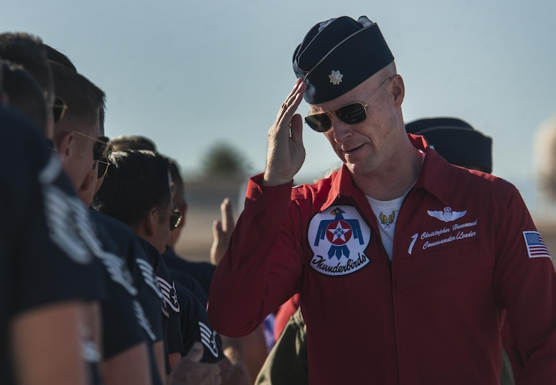 Lt. Col. Christopher Hammond, U.S. Air Force Air Demonstration Squadron commander, salutes Thunderbird crew chiefs before take-off during the Aviation Nation air show on Nellis Air Force Base, Nev. Nov., 11, 2016. Before joining the team, Hammond was the director of operations at the 16th Weapons Squadron, Nellis AFB, Nev. Hammond has logged more than 2,500 flight hours, with more than 400 hours of combat experience in the F-16. (U.S. Air Force photo by Airman 1st Class Kevin Tanenbaum/Released)