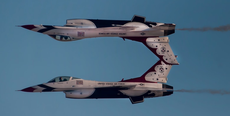 U.S. Air Force Thunderbird Air Demonstration Squadron fly in the calypso formation during Aviation Nation on Nellis Air Force Base, Nev., Nov. 11, 2016. The Thunderbirds perform precision aerial maneuvers demonstrating the capabilities of Air Force. (U.S. Air Force photo by Airman 1st Class Kevin Tanenbaum/Released)