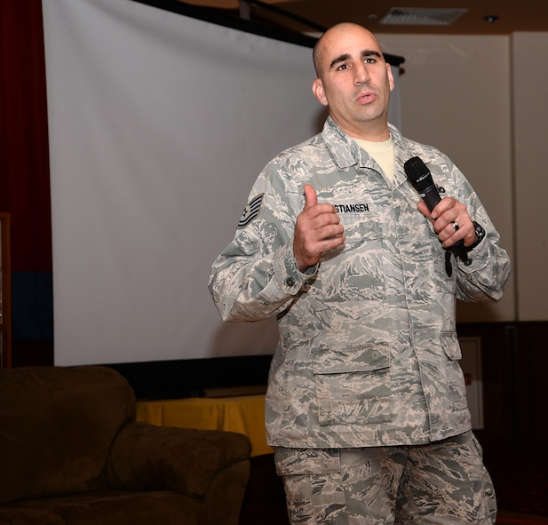 "U.S. Air Force Tech. Sgt. Michael Christiansen, 100th Security Forces Squadron flight chief, shares his personal story at the ""Storytellers"" event Nov. 18, 2016, on RAF Mildenhall, England. Christiansen is a Wounded Warrior and was injured during a series of explosions while deployed, one of which threw him backwards and caused injury to his spine. As he shared his experiences, the flight chief described how hard it is accepting the fact he's a Wounded Warrior and dealing with the struggles that go along with it, such as being a father and playing with his children. (U.S. Air Force photo by Karen Abeyasekere)"