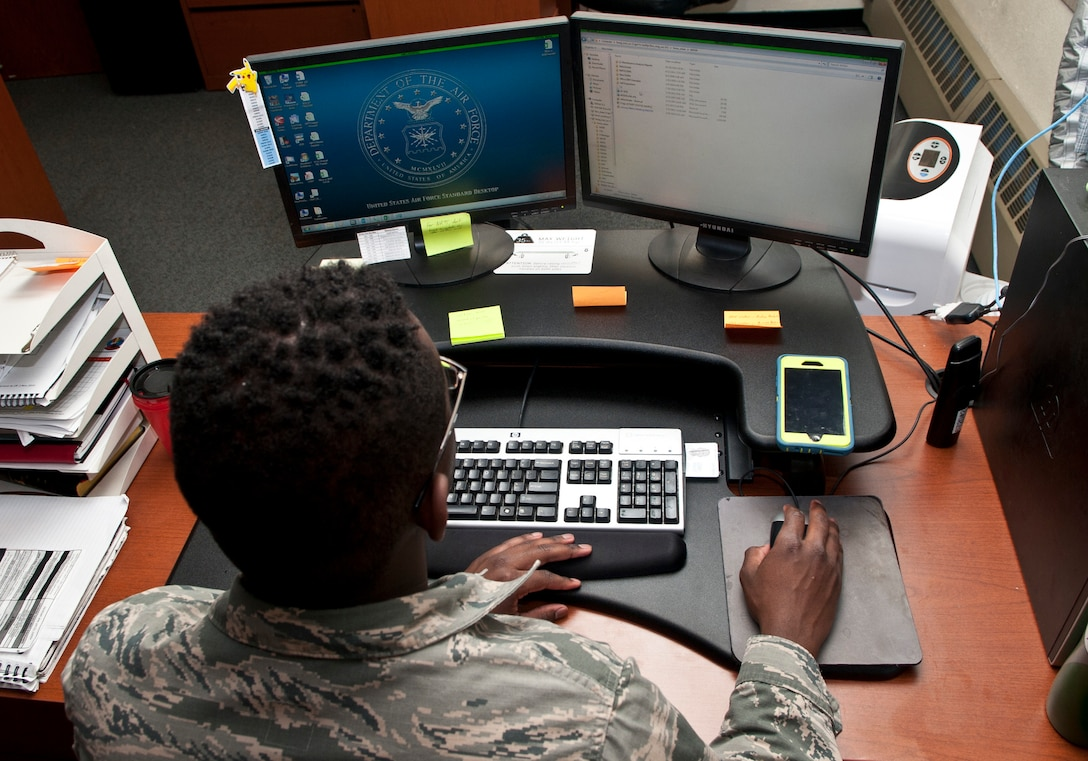 Airman 1st Class Malik Howard, 5th Maintenance Group maintenance operations flight data integrity team member, manages discrepancy information at Minot Air Force Base, N.D., Nov. 15, 2016. The 5 MXG maintenance operations flight Airmen use discrepancy data to guide squadrons how to efficiently document maintenance. (U.S. Air Force photo/Airman 1st Class Jonathan McElderry)