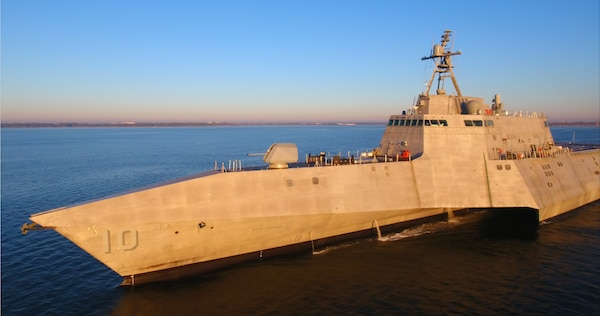 The future USS Gabrielle Giffords (LCS 10) conducts acceptance trials in the Gulf of Mexico, Nov. 17. Acceptance trials are the last significant milestone before delivery of the ship to the Navy, which is planned for later this year.