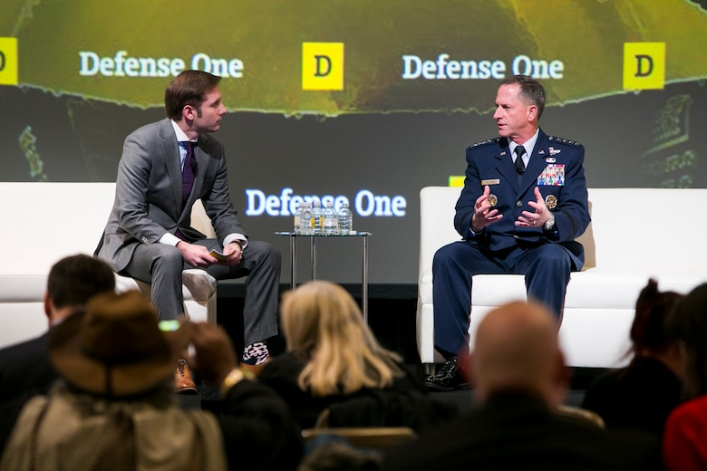 Defense One's Marcus Weisgerber, left, speaks with Air Force Chief of Staff Gen. David L. Goldfein about multidomain warfare at the Defense One Summit in Washington D.C., Nov. 17, 2016. (Courtesy photo)