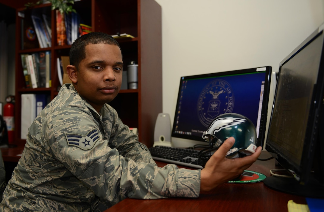 Senior Airman Isiah Williams, 85th Flying Training Squadron administrative journeyman, is a proud Philadelphia Eagles fan and is also Laughlin's XLer of the Week, Nov. 22, 2016. Williams was chosen by wing leadership as this week's XLer for his outstanding contributions to his unit and Laughlin. (U.S. Air Force photo/Airman 1st Class Benjamin N. Valmoja)