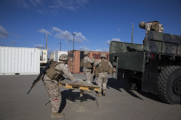 CAMP PENDLETON, Calif., (September 13, 2016) – Marines and Sailors with Combat Logistics Detachment 113, Combat Logistics Battalion 11, 11th Marine Expeditionary Unit, load pallets of food for a Foreign Humanitarian Assistance training mission during the Makin Island Amphibious Ready Group/11th MEU's Certification Exercise Sept. 13, 2016. An FHA can include provision of food water, clothing, beds and bedding, temporary shelter and housing, medical material, medical and technical services, and essential service restoration CERTEX is the last exercise in the MEU's six-month pre-deployment training cycle in which the ARG/MEU team will be tested then certified as deployable prior to their WestPac 16-2 deployment to the Western Pacific and Central commands' areas of operations. (US Marine Corps photo by Cpl. April L. Price/Released)