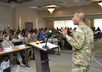 Army Brig. Gen. Charles Hamilton, DLA Troop Support commander, discusses the impact of standardization at the Military Medical Enterprise Standardization Office Training Workshop in Philadelphia Nov. 15. In fiscal 2015, standardization of medical supplies and equipment saved more than $16 million