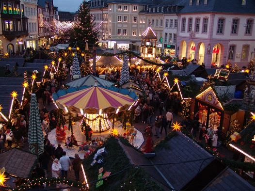 Trier is presently in full swing setting up their Christmas market as seen in this November 2011 photo. This month, many German cities begin setting up their traditional Weihnachtsmaerkte, or Christmas markets. (U.S. Air Force photo/Iris Reiff)