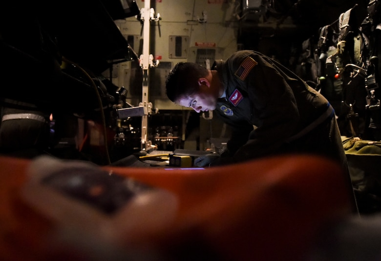 Tech. Sgt. Manuel Montaovo, 375th Aeromedical Evacuation Squadron air evacuation technician, conducts a pre-flight check of the unitron frequency converter during exercise Hurricane Greg, Nov. 8, 2016, at Little Rock Air Force Base, Ark. The unitron frequency converter allows medical equipment to be connected to the aircraft to assist injured personnel. (U.S. Air Force photo by Senior Airman Stephanie Serrano)