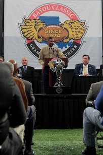 Colonel Ricardo T. Player, chief of staff, U.S. Marine Forces Command, speaks during the 43rd Bayou Classic press conference, Nov. 22, 2016, at the Mercedes-Benz Superdome, New Orleans, Louisiana. The press conference kicked off the annual Bayou Classic, a sporting event U.S. Marines have been a part of for more than 16 years. (Photo by Cpl. John-Paul Imbody/Released)