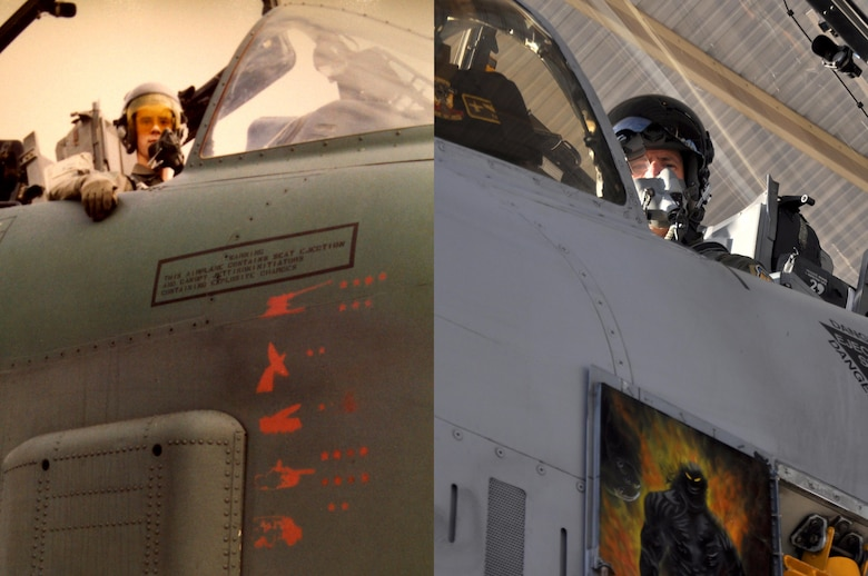 Then, U.S. Air Force 1st Lt. John Marks in an A-10 Thunderbolt II in 1991 next to, now, Lt. Col. Marks in the cockpit of an A-10 at Whiteman Air Force Base, Mo., Nov. 14, 2016. Marks reached 6,000 hours in an A-10 after flying for nearly three decades. (Courtesy photo provided by Lt. Col. Marks)