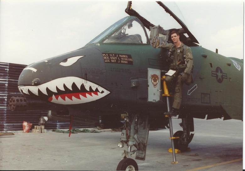 U.S. Air Force 1st Lt. John Marks, poses with an A-10 Thunderbolt II at King Fahd Air Base, Saudi Arabia, during Desert Storm in February, 1991. Destroying and damaging more than 30 Iraqi tanks was one of Marks most memorable combat missions during Desert Storm. (Courtesy photo provided by Lt. Col. Marks)