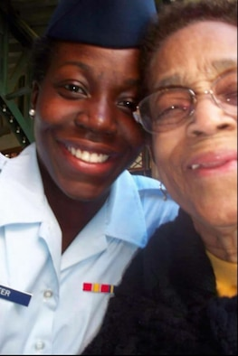 This is a photo of me and my grandmother after I graduated from basic training Oct. 14, 2011. Family is important to me as I reflect on the holidays. (U.S. Air Force photo/Senior Airman Jaeda Tookes)